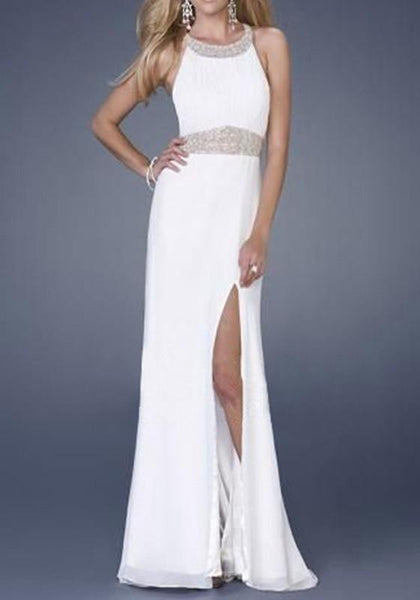 White Patchwork Sequin Cross Back Backless Side Slit Maxi Dress