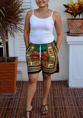 Yellow Tribal Print Drawstring Pockets Adjust Waist Bohemian Beach Casual Short Pants