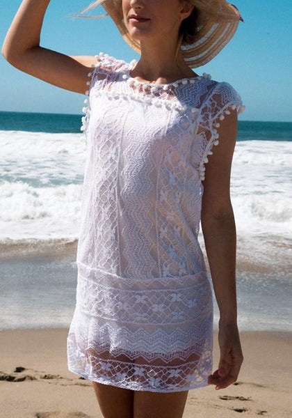 White Patchwork Hollow-out Lace Tassel Double-deck Round Neck Mini Dress