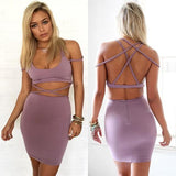 Purple Plain Cut Out Cross Back Spaghetti Straps Backless Bodycon Mini Dress