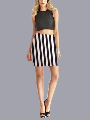Black-White Striped Fitted Bodycon Plus Size Trendy Streetwear Skirt