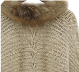Faux Fur Collar Bat Sleeve Khaki Sweater Cardigan