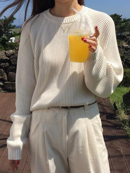 Ladies Full Sleeve Women Knitting Sweater Solid O-Neck Pullover And Jumper Loose Sweater