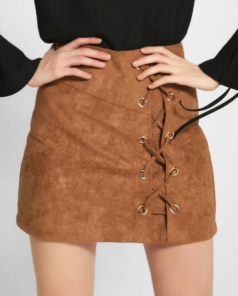 Romoti Brown Lace Up Skirt