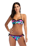 Flower Print Halter Neck Bikini Set