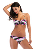 Flamingo Print Stripes Halter Neck Bikini Set