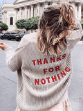 Apricot THANKS FOR NOTHING Embroidery Long Sleeve Oversize Casual Cardigan Sweater