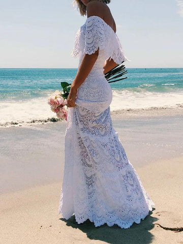Beach Sexy Lace One Shoulder lash Neck Solid Vintage Maxi Long Dress