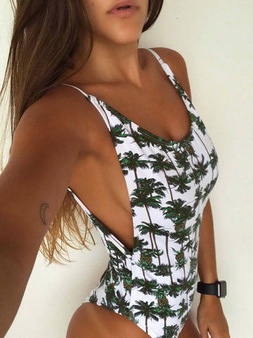 Sexy Backless Print One-Piece Swimwear