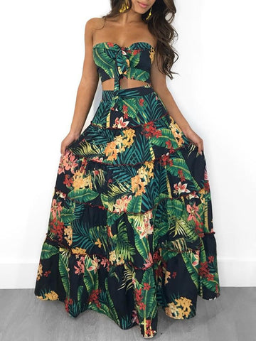 Tropical Print Tube Top & Maxi Skirt Two Pieces Set