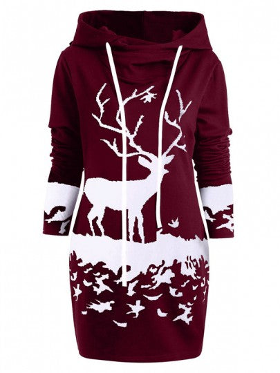 New Burgundy Flowers Print Drawstring Hooded Long Sleeve Casual Mini Dress