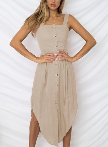 Casual Strappy Backless Button Down Irregular Maxi Dress