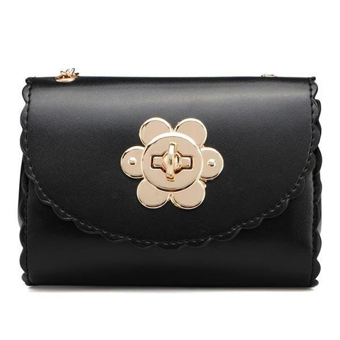Candy Color Flower Lock Chain Crossbody Bag