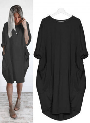 Oversized Round Neck Dolman Sleeve Loose Dress With Pockets