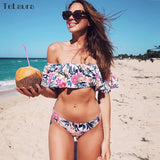 Ruffle Off Shoulder Bikini Set