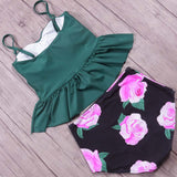 Hunter Green Floral High Waist Tankini