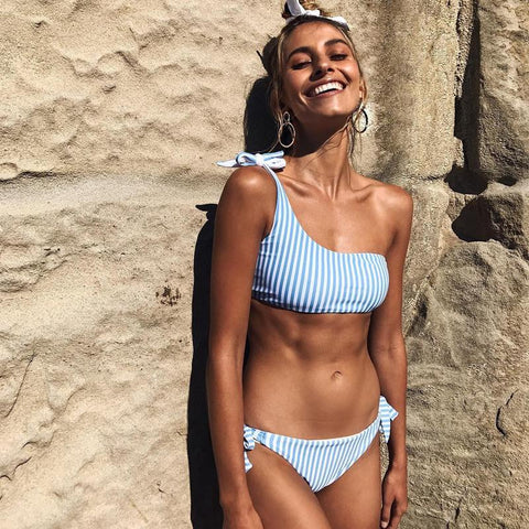 Golden Girl Blue White Striped Bikini
