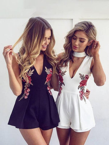 Summer Elegant Floral V Neck Sleeveless Beach Playsuit Jumpsuits Rompers