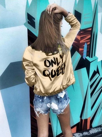 Autumn Women Bomber Crown Queen Print Long Sleeve Zipper Top Jacket Coat Biker Short Outwear