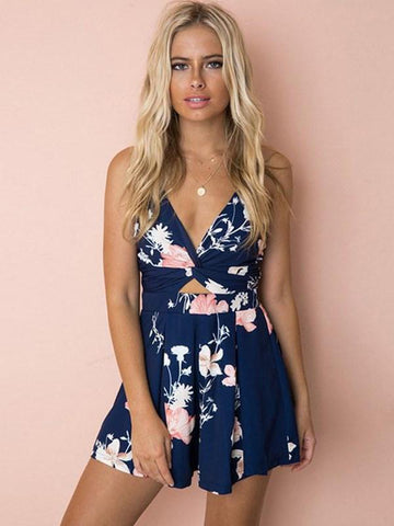 Blue Floral Print Sleeveless Strapless Backless Boho Beach Short Romper Jumpsuit