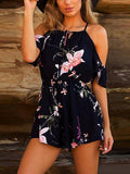 Casual Bohemian Floral Printed Off Shoulder Beach Bodycon Playsuit Rompers Jumpsuits