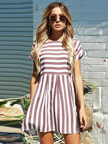 Summer Beach A-Line Striped Short Sleeve O-Neck Print Pink Sundress Mini Dress