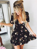 Floral Short Sleeve V Neck Evening Party Bohemian Mini Boho Beach Dress