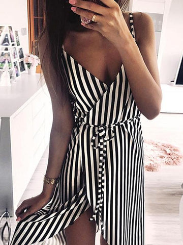 Women Stripe Printing Sleeveless Off Shoulder Evening Party Vest Sashes Dress