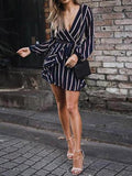 Casual Lantern Sleeve Striped V-Neck Ruffle Mini Party Dress