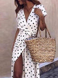 Boho Polka Dot V-Neck High Waist Split Beach Evening Party Long Maxi Dress Vestido