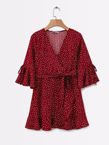 Boho Short Sleeve V neck Sexy Wrap Slim Waist Elegant Ruffles Vestidos Polka Dot Mini Dress
