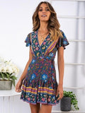 Summer Vintage Boho Floral Short Sleeve V neck Holiday Print Wrap Sundress Mini Dress