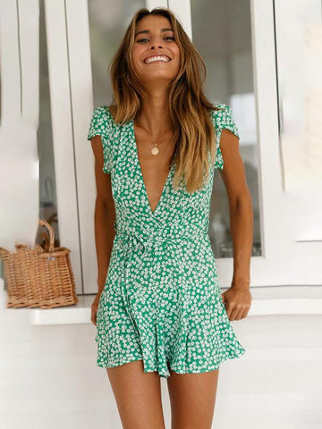 Summer Boho Short Deep V neck Beach Floral Sundress Evening Party Mini Dress