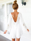 Sexy V-neck One Piece Backless Lace Hollow Out Beach Style Playsuit Jumpsuits