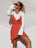 Summer Boho Wrap Rustic Style Resort High Waist Bodycon Polka Dots Dresses