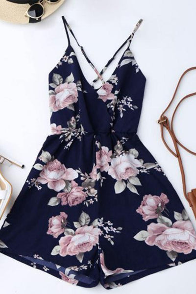 Floral Backless Blue Jumpsuit