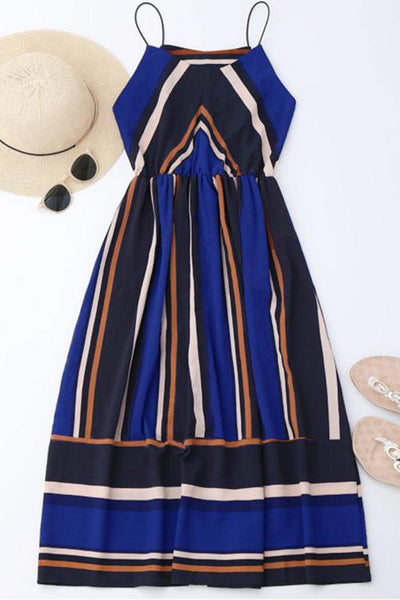 Color Block Striped Casual Dress