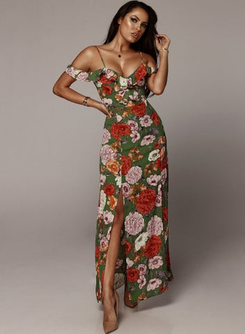 Boho Floral Printed Off The Shoulder Ruffle Neckline Slit Dress