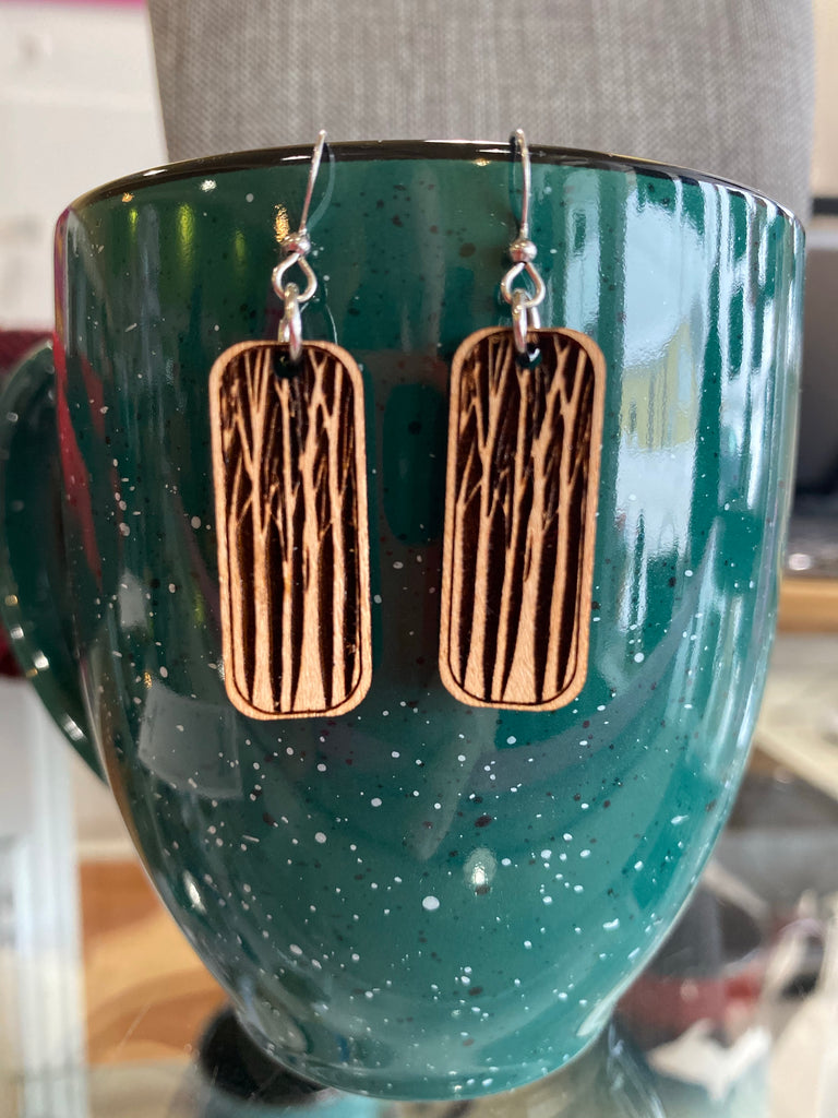 The Woodlands - Wood Carved Art Earrings By Be Inspired UP — Tall Birch