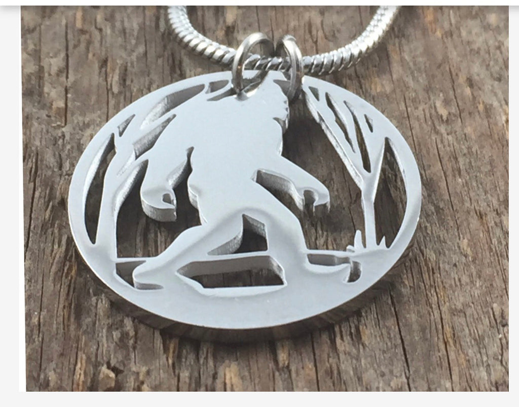 Sasquatch Walking In Woods Necklace