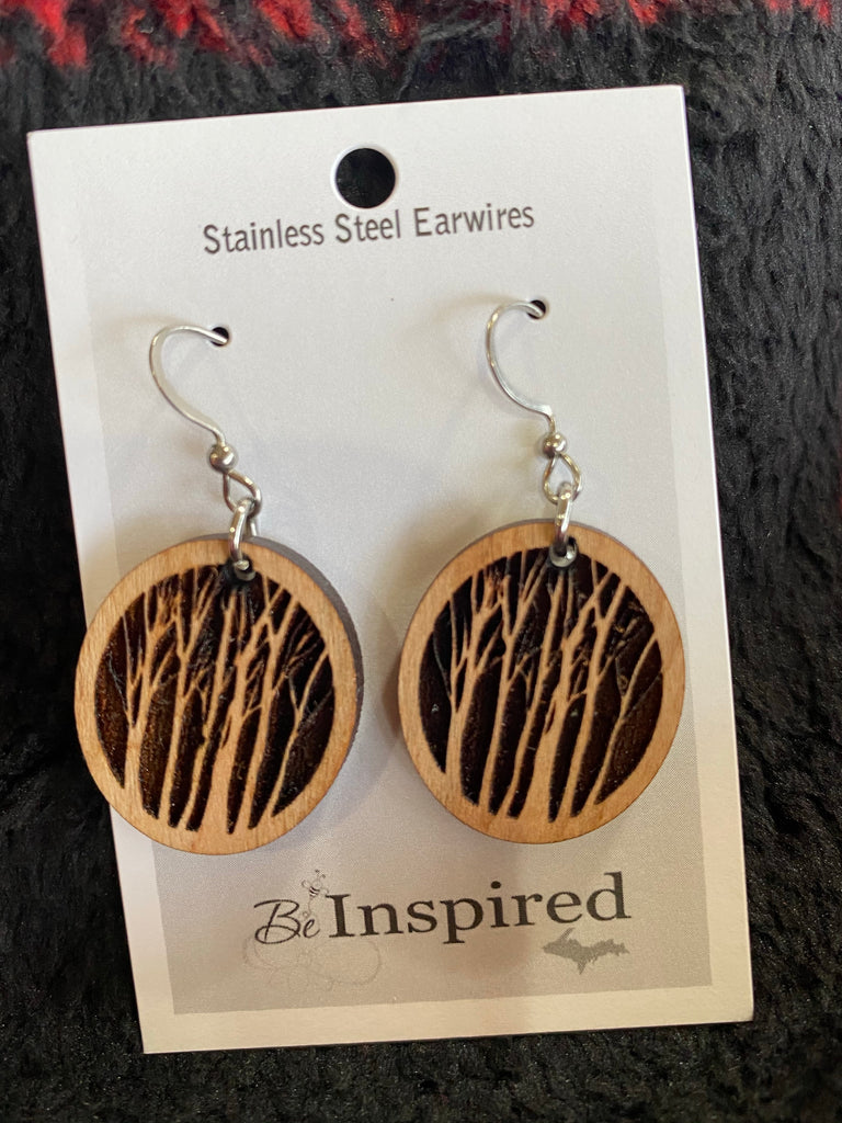 The Woodlands - Carved Art Earrings By Be Inspired UP — Round Birch