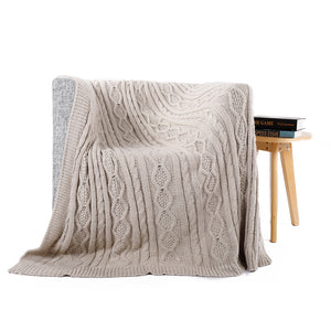 Neutral Color Cable-Knit Throw - AtHomeWithZane
