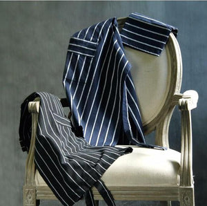 Men's Striped Adjustable European Kitchen Apron Black and Navy - AtHomeWithZane
