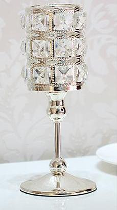 Luxury Crystal Silver Candle Holders Three Sizes - AtHomeWithZane