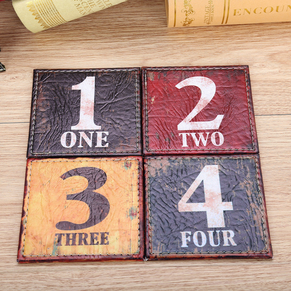 "Rustic ""Numbers"" Colorful Coaster set of 4 - AtHomeWithZane"