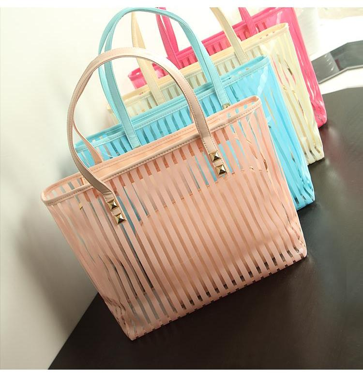 Woman's Summer Transparent Striped Handbag With Matching Cosmetic Bag - AtHomeWithZane