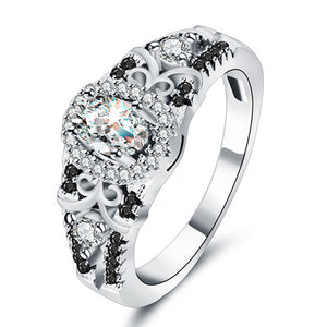 Stunning Sterling Silver Row Black Stone CZ Ring - AtHomeWithZane