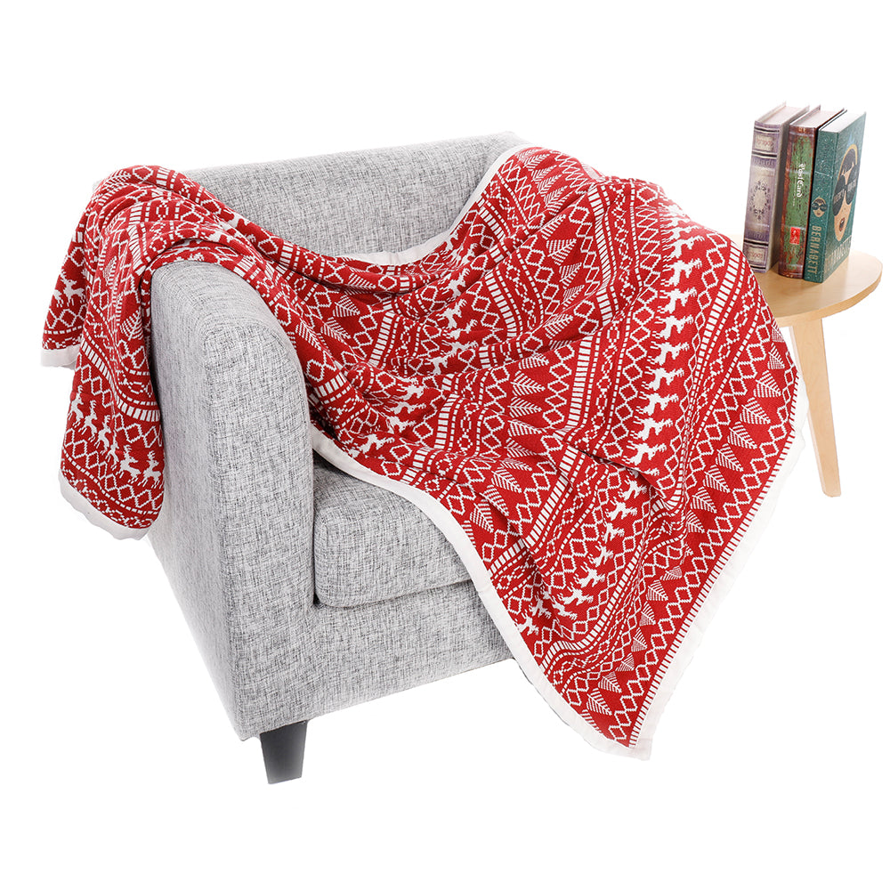 "50"" x 60"" Red and White Winter Throw - AtHomeWithZane"