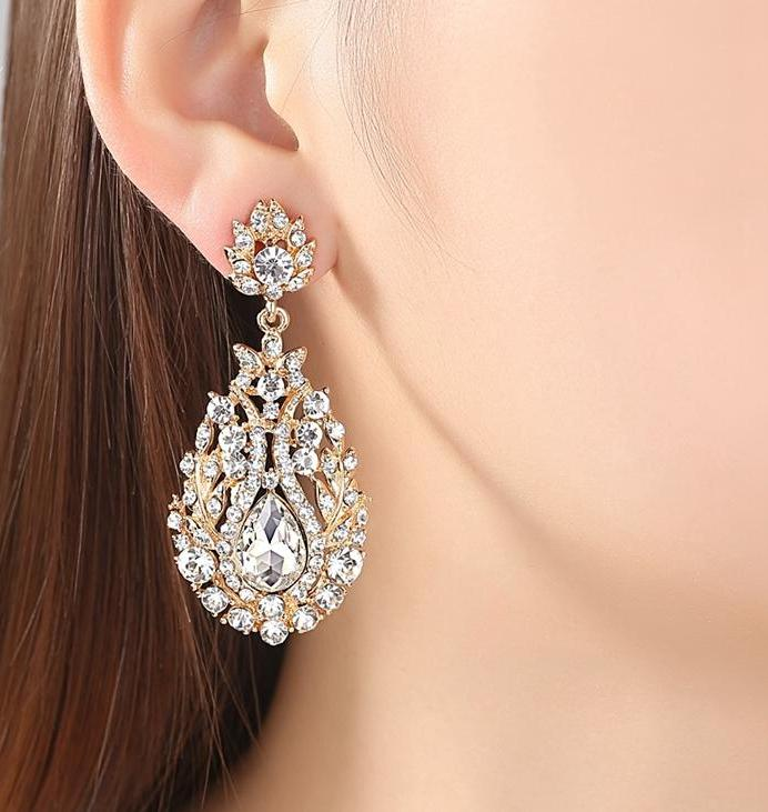 Luxury Crystal Long Earrings in the Colors Silver and Gold - AtHomeWithZane