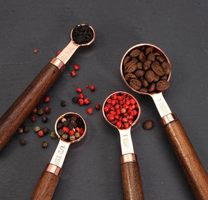 Rose Gold Measuring Spoons With Wooden Handles - AtHomeWithZane